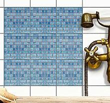 Aufkleber für Fliesen | Fliesensticker Vinyl Mosaikfliesen | Selbstklebende Dekorfolie zur Wandgestaltung von Bad u. Küchenfliesen - Fliesenmuster | 15x15 cm - Motiv Mosaik Blau - 72 Stück