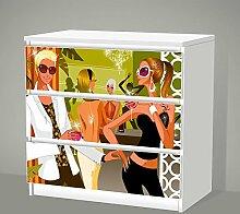 Aufkleber für IKEA Malm - 3 Schubladen --
