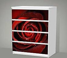 Aufkleber für IKEA Malm - 4 Schubladen -- Red