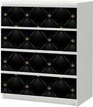 Aufkleber für IKEA Malm Kommode 80x100cm Black LederMöbeltattoo Sticker