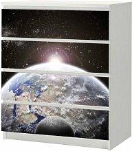 Aufkleber für IKEA Malm Kommode 80x100cm Weltall + ErdeMöbeltattoo Sticker