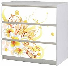 Aufkleber für IKEA Malm Kommode 80x78cm Blume gelb Möbeltattoo Sticker