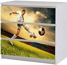 Aufkleber für IKEA Malm Kommode 80x78cm Fußballspieler Möbeltattoo Sticker