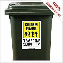 Aufkleber für Mülltonnen mit