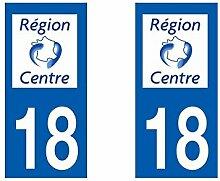 Aufkleber für Nummernschild, Département - Centre / 18 Cher