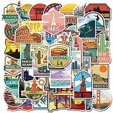 Aufkleber für Reisen, Stadt, Landschaft, Cartoon,