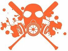 Aufkleber Gasmaske mit Baseballschlägern Autoaufkleber in 7 Größen und 25 Farben (40x30cm orange)