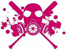 Aufkleber Gasmaske mit Baseballschlägern Autoaufkleber in 7 Größen und 25 Farben (50x37cm pink)