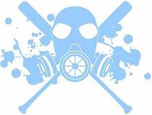 Aufkleber Gasmaske mit Baseballschlägern Autoaufkleber in 7 Größen und 25 Farben (30x22cm hellblau)