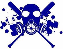 Aufkleber Gasmaske mit Baseballschlägern Autoaufkleber in 7 Größen und 25 Farben (40x30cm brillantblau)