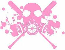 Aufkleber Gasmaske mit Baseballschlägern Autoaufkleber in 7 Größen und 25 Farben (40x30cm hellrosa)