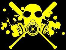 Aufkleber Gasmaske mit Baseballschlägern Autoaufkleber in 7 Größen und 25 Farben (40x30cm gelb)