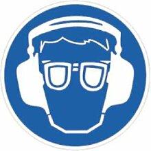 Aufkleber Gehörschutz und Augenschutz benutzen