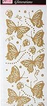 Aufkleber Glitzernde Schmetterlinge Gold,