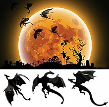 Aufkleber, HARRYSTORE 7PCs / Gesetzte Halloween Gotische Art Tapete Aufkleber Spiel 3D Drache Form Dekoration Aufkleber