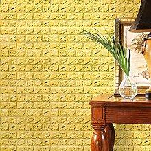 Aufkleber, HARRYSTORE PE Schaum 3D Tapete DIY Wand Aufkleber Wand Dekor prägeartiger Ziegelstein Stein (Gelb)