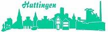 Aufkleber Hattingen Autoaufkleber Skyline in 7 Größen und 25 Farben (50x15cm türkis)