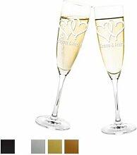 Aufkleber Hochzeit - Herzen für Sektglas mit