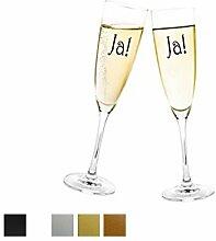 Aufkleber Hochzeit - JA! für Sektglas Farbe