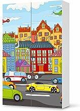 Aufkleber IKEA Besta Schrank Hochkant 2 Türen / Design Folie City Life / Möbeldekoration
