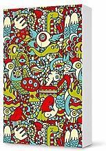 Aufkleber IKEA Besta Schrank Hochkant 2 Türen / Design Folie Monster Doodle / Möbeldekoration
