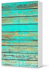 Aufkleber IKEA Besta Schrank Hochkant 2 Türen / Design Folie Wooden Aqua / Möbeldekoration