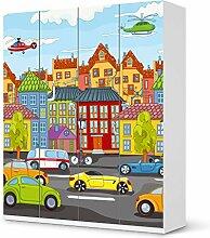 Aufkleber IKEA Pax Schrank 236 cm Höhe - 4 Türen / Design Folie City Life / Möbeldekoration