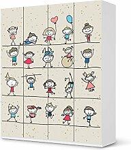 Aufkleber IKEA Pax Schrank 236 cm Höhe - 4 Türen / Design Folie Happy Kids / Möbeldekoration