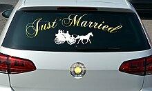 Aufkleber Just Married Kutsche, Farbe: weiß/chrom-gold, jm1003-crgo, speziell für die Heckscheibe, Autoaufkleber, Autofensteraufkleber, Größe: ca 90,0 x 28,4 cm, kontur geschnitten, Hintergrund freigestell