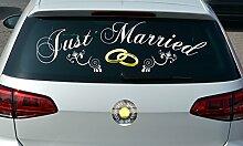 Aufkleber Just Married Ringe, jm1001, speziell für die Heckscheibe, Autoaufkleber, Autofensteraufkleber, Größe: ca 90,0 x 26,7 cm, kontur geschnitten, Hintergrund freigestellt, Farbe anpassbar