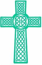 Aufkleber Keltisches Kreuz Scheibenaufkleber in 6 Größen und 25 Farben (70x47cm türkis)