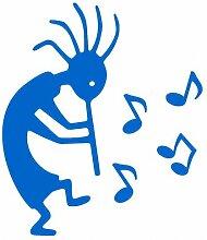 Aufkleber Kokopelli mit Musiknoten in 6 Größen und 25 Farben (52x60cm azurblau)