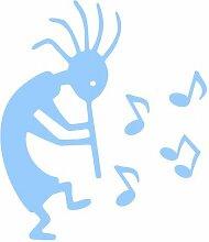 Aufkleber Kokopelli mit Musiknoten in 6 Größen und 25 Farben (52x60cm hellblau)