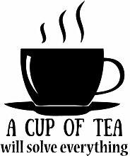 Aufkleber Kreative Wandaufkleber Tasse Tee, PVC, schwarz, 64x 5x 5cm