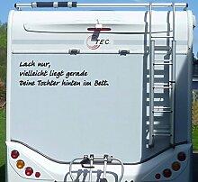 Aufkleber Lach nur Tochter im Bett Wohnmobil Wohnwagen Camping Caravan Auto - 100 cm / Schwarz