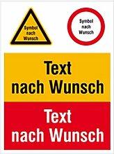 Aufkleber mit max. 2 Sicherheitszeichen + 2 Texten