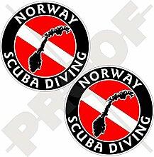 Aufkleber mit Norwegischer Taucherflagge, 75 mm,