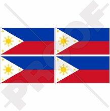 Aufkleber mit Philippinen-Flagge, 50 mm, Vinyl,