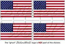 Aufkleber mit USA-Flagge, 5,1cm, Vinyl, für Kofferraum oder Helm, 4 Stück