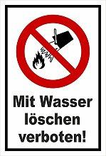 Aufkleber - Mit Wasser löschen verboten - entspr.