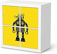 Aufkleber Möbel für IKEA Expedit Regal 4 Türen | Kleinkind Möbel-Folie Klebefolie Tapete Folie | Ideen für Kinderzimmer Möbel Walltattoo | Kids Kinder Retro Robo