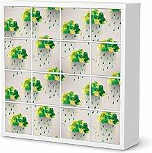 Aufkleber Möbel für IKEA Kallax Regal 16 Türelemente   Möbel-Folie Klebefolie Sticker Tapete Möbel umgestalten   Schöner Wohnen Jugendzimmer Dekoartikel   Design Motiv Rainy Clouds - Grün