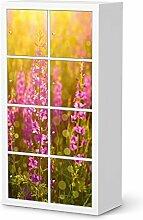 Aufkleber Möbel für IKEA Kallax Regal 8 Türelemente | Möbel-Folie Klebefolie Sticker Tapete Möbel umgestalten | Schöner Wohnen Jugendzimmer Dekoartikel | Design Motiv Flower Meadow
