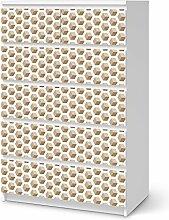 Aufkleber Möbel für IKEA Malm 6 Schubladen (hoch) | Möbel-Folie Klebefolie Sticker Tapete Möbel umgestalten | Schöner Wohnen Jugendzimmer Dekoartikel | Muster Ornament Falling Cubes - Braun
