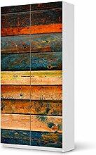 Aufkleber Möbel für IKEA Pax Schrank 201 cm Höhe - 2 Türen | Möbel-Folie Klebefolie Sticker Tapete Möbel umgestalten | Schöner Wohnen Jugendzimmer Dekoartikel | Muster Ornament Wooden