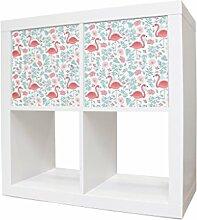 Aufkleber Möbel Kinderzimmer Sticker für IKEA Expedit / Kallax Schrank mit Motiv: Flamingos