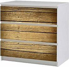 Aufkleber Möbeltattoo für IKEA Malm Kommode 80x78cm Holz braun Möbeltattoo Sticker