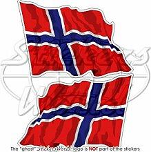Aufkleber norwegische Flagge, 75mm, Vinyl, 2 Stück