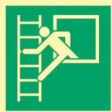 Aufkleber Notausstieg mit Fluchtleiter