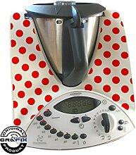 Aufkleber passend für den Thermomix TM31 Polka Dots rot Punkte Muster
